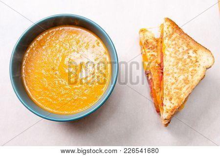 Tomato Garbanzo Soup Made With Cocnut Milk With Grilled Cheese And Tomato Sandwich. A Healthy Meal