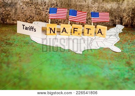 Nafta Trade Business Concept With United States Map And Flags