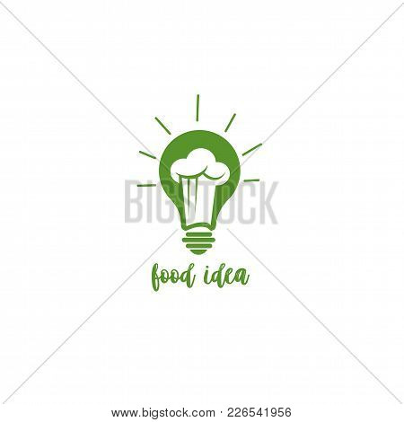 Food Idea Icon, Bulb, Restaurant, Chef Capp, Enlightenment, Menu On White Background With Typography