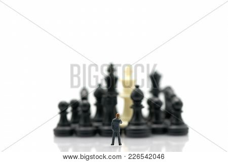 Miniature People Businessmen Standing Chess Analysis Communicate About Business Strategy. Or Busines