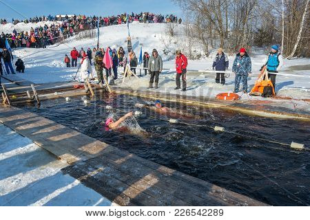 Competitions On Swimming In Ice Water, At The Festival Winter Fun In Uglich, 10.02.2018 In Uglich, Y