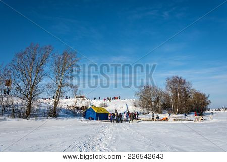 Place Of Ice Swimming Competition On The Volga River, At The Winter Fun Festival In Uglich, 10.02.20
