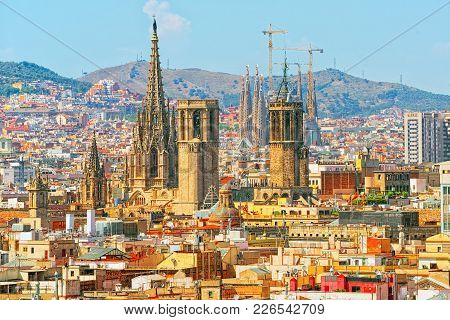 Panorama Of The Historical Center Of Barcelona, Catalonia. Spain