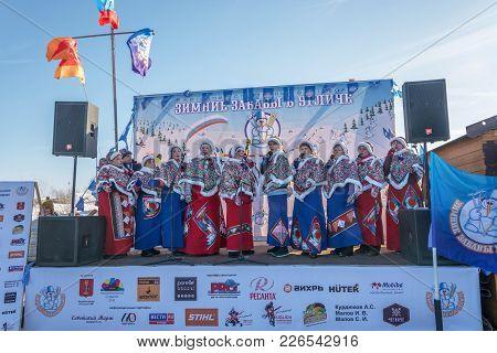 Uglich City, Yaroslavl Region, Russia - 10.02.2018: Female Choir At The Festival Winter Fun In Uglic