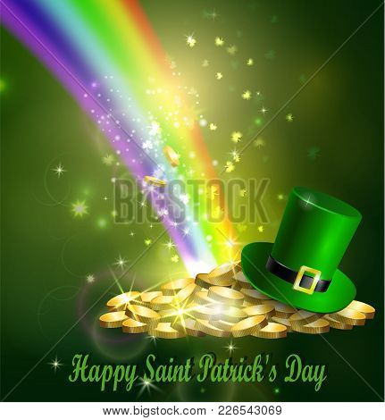 St. Patrick S Day Symbol Gold Coins Leprechaun Hat And Rainbow Vector Illustration