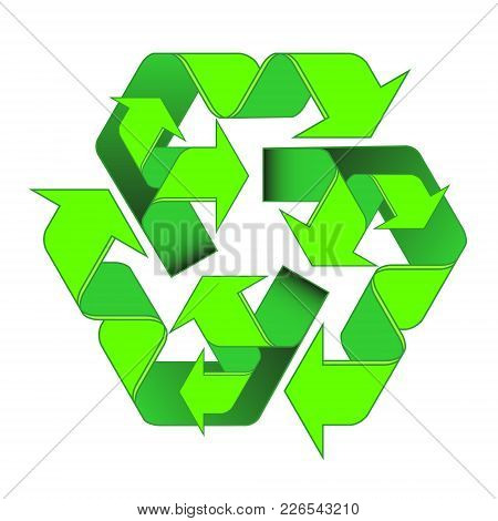 Green Arrows Recycle Is A Two-level Of The Cyclic Processing. Eco Symbol Vector Illustration Isolate