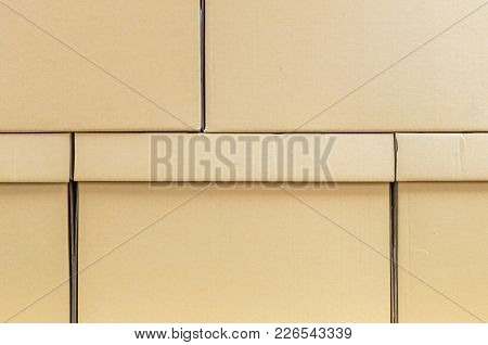 Closeup Surface At Brown Boxes Set Background