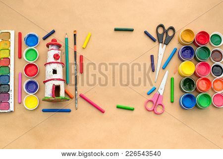 A Set Of Materials For Creativity And Drawing Hobbies. Classes For Creativity With Children. Flat La