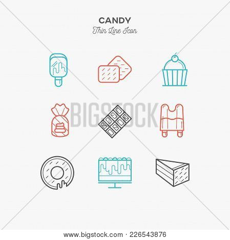 Desserts, Honey, Jelly Bear, Cake, Candy, Chocolate Thin Line Color Icons Set, Vector Illustration