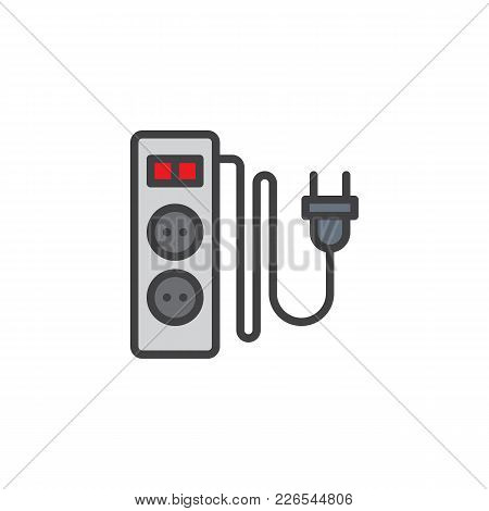 Electric Extension Cord With Two Slots Filled Outline Icon, Line Vector Sign, Linear Colorful Pictog