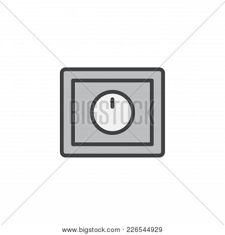 Light Dimmer Switch Filled Outline Icon, Line Vector Sign, Linear Colorful Pictogram Isolated On Whi