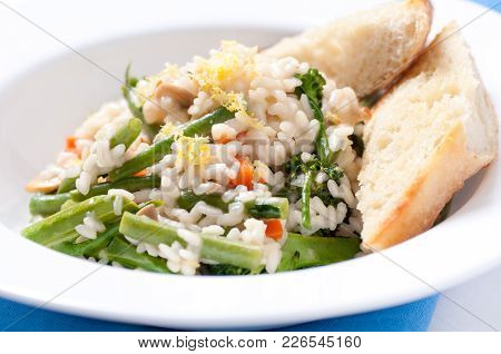 Vegetatian Risotto With Farm Fresh Organic Vegetables. The Healthiest Risotto Possible