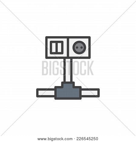 Wiring Switch And Socket Filled Outline Icon, Line Vector Sign, Linear Colorful Pictogram Isolated O