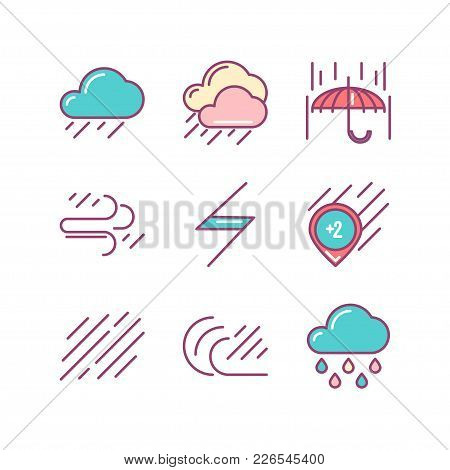 Line Icon Of Wind, Weather, Isolated Object. Line Icons Set.