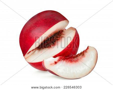 Sliced Nectarine Peach Isolated On Whitie Background