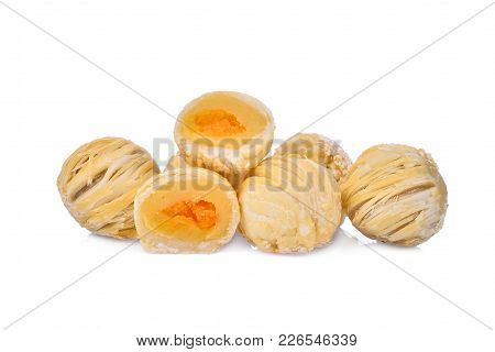 Chinese Pastry-mung Bean With Egg Yolk Or Moon Cake Isolated On White Background