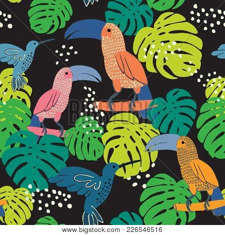 Abstract Hand Painted Seamless Animal Background.isolated Birds With Palm Leaves. Toucans And Hummin