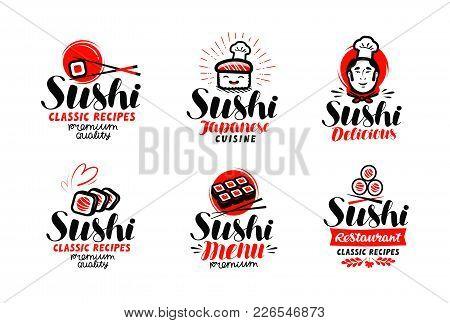 Sushi, Sashimi Logo Or Label Set. Japanese Cuisine, Fast Food Typography. Lettering Vector Illustrat