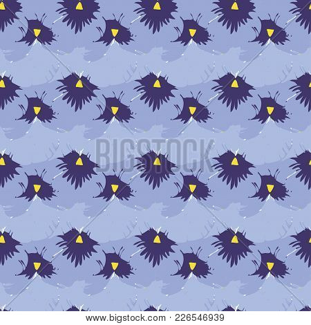 Seamless Pattern With Pansies Flower. Vector Set Of Blooming Floral For Wedding Invitations And Gree