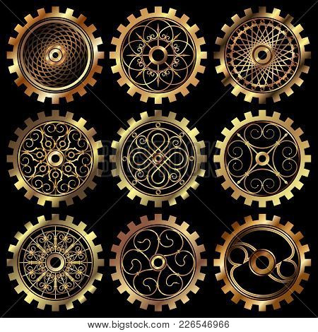 Vector Golden Gears Set In The Style Of Steampunk