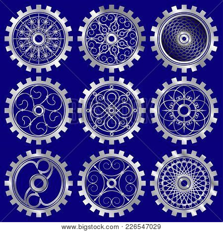 Vector Silver Gears Set In The Style Of Steampunk
