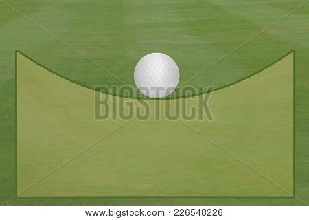 Golf Fairway And Green With Golf Ball Open Text Area Template