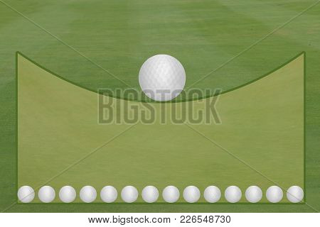 Golf Fairway And Green With Golf Balls Open Text Area Template