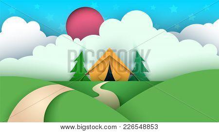 Cartoon Paper Landscape. Tent, Christmas Tree, Cloud, Sky Star Llustration Vector Eps 10