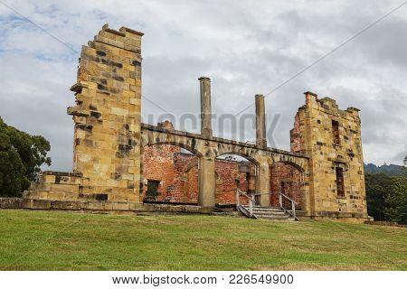 Ruins Of  Old  Jail Hospital At Port Arthur Historic Site In Tasmania, Australia