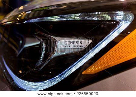 Seattle, Wa - November 12, 2017: Genesis Full Led Headlights Of A White Car At Seattle International