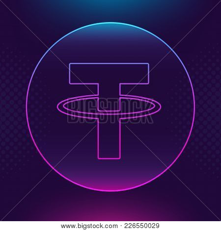 Tether Usdt Vector Outline Icon. Cryptocurrency, E-currency, Payment Crypto Currency, Blockchain But