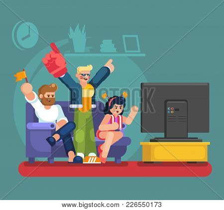 Soccer Fans And Friends Watching Tv On Couch. Football Match Supporting People Flat Vector Illustrat