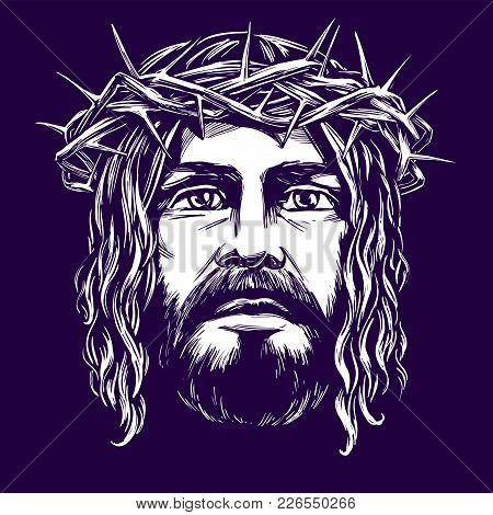 Jesus Christ, The Son Of God, Symbol Of Christianity Hand Drawn Vector Illustration Sketch.