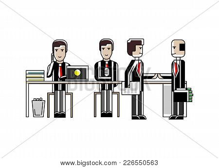 Business Meeting And Contract Conclusion European Businessmen In Conference Room. Corporate Business