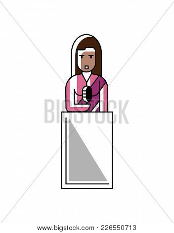 Indian Businesswoman In Saree Speech On Tribune. Corporate Business People Isolated Vector Illustrat