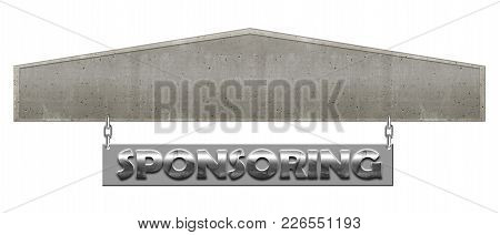 Hd Concrete And Silver Sponsoring Sign With Open Text Box Area Template