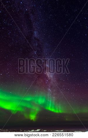Aurora Australis (the Southern Lights) In The Sky Over Ross Island, Antarctica.