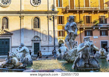 Bernini Fontana Quattro Dei Fiumi Fountain Fountain Of Four Rivers Piazza Navona Rome Italy.  Piazza