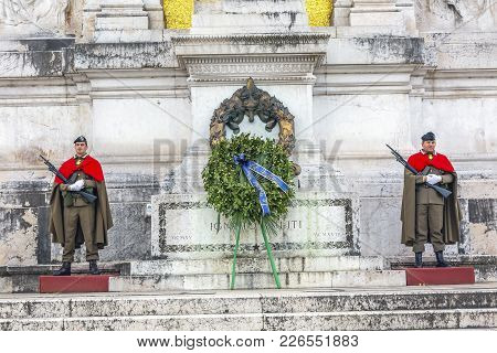 Rome, Italy - January 19, 2017 Tomb Of Unknown Soldier Victor Emanuele Monument Rome Italy.  Monumen