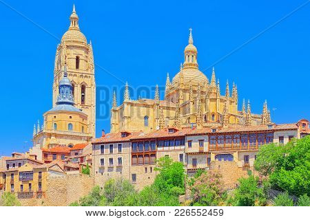 Panoramic Landscape At The Ancient City And Cathedral Of Segovia