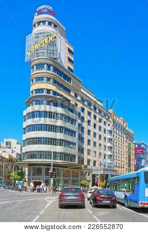 Carrion Building (capitol Building) On Gran Via Street In Madrid