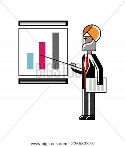 Indian Speaker Doing Business Presentation With Financial Diagram On Whiteboard. Corporate Business