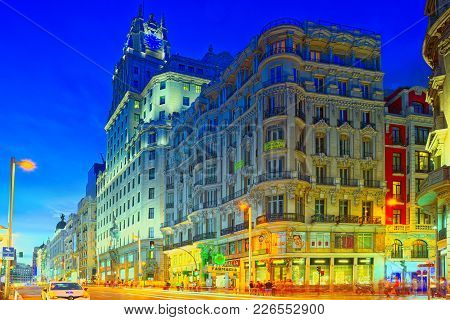Gran Via Street In Madrid, After Sunset, Traffic Lights On Gran