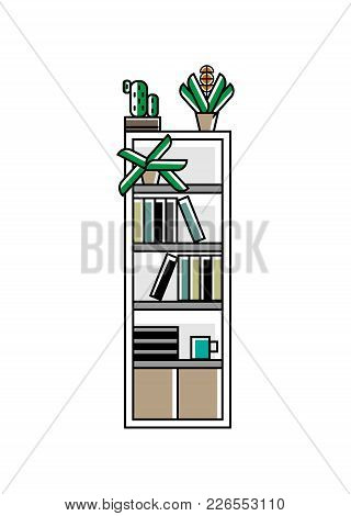 Office Bookshelf Icon In Linear Style. Interior Furniture Isolated Vector Illustration.