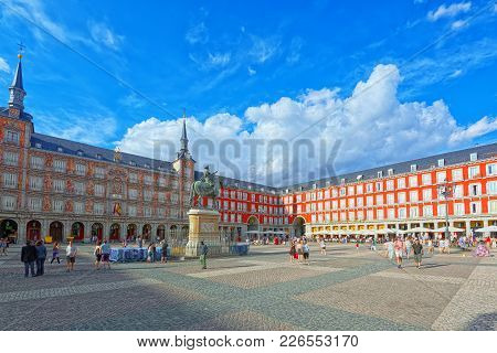 Tourists On Plaza Mayor. Plaza Mayor - One Of Central Squares Of
