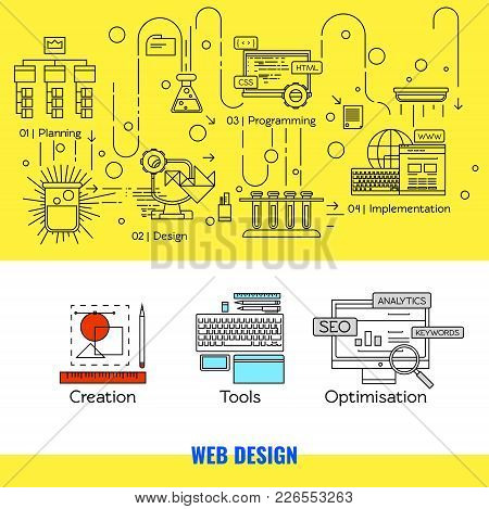 Linear Web Design Concept With Main Steps Of Internet Project And Different Tools For Its Implementa