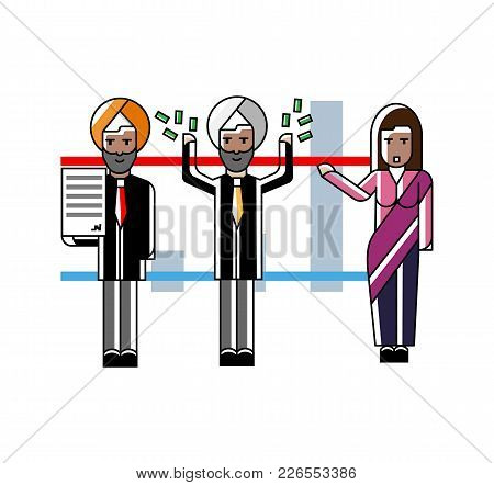 Indian Business Team Presenting Your Project Near Whiteboard With Financial Diagram. Corporate Busin