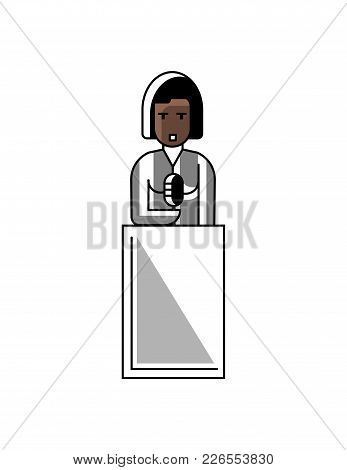 African Businesswoman Speech On Tribune. Corporate Business People Isolated Vector Illustration In L