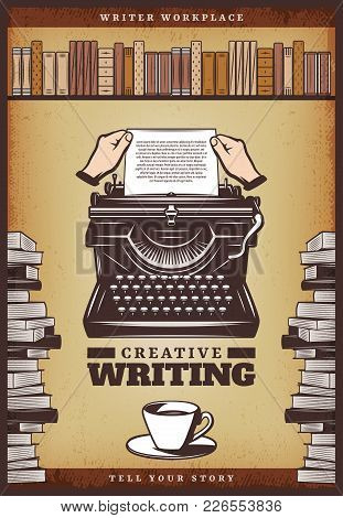 Vintage Colored Writer Poster With Hands Insert Paper In Typewriter Coffee Cup Books And Bookshelf V