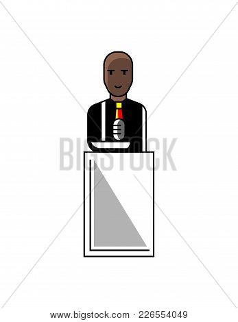 African Businessman Speech On Conference Tribune. Corporate Business People Isolated Vector Illustra